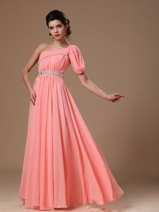 Watermelon One Shoulder Chiffon College Graduation Dress with Beading