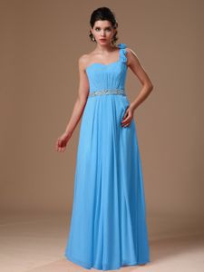 One Shoulder Beaded Senior Graduation Dress with Hand Flowers in Baby Blue