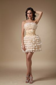 Champagne Strapless Mini-length Junior Graduation Dresses with Beading
