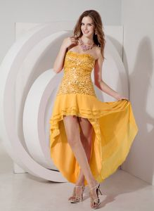 Orange High-low Strapless Discount College Graduation Dress with Sequins