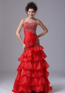 Mermaid Sweetheart Red Sexy Graduation Dresses in Organza in McLean