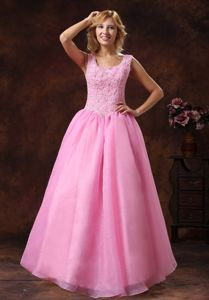 Rose Pink Scoop Lace-up Senior Graduation Dress with Appliques in Fairfax