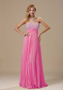 Beaded Sweetheart Hot Pink College Graduation Dresses with Pleats in Chantilly