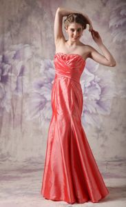 Coral Red Sweetheart Taffeta Beaded Prom Dress For Graduation in Ogden