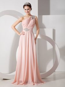 One Shoulder Chiffon Ruched Baby Pink Grad Dress with Beading in Sandy