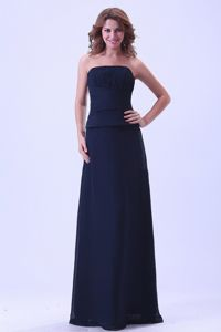 Strapless Chiffon Custom Made College Graduation Dress in Navy Blue
