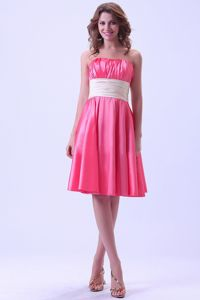 Hot Pink Ruched Knee-length Senior Graduation Dress in Taffeta in Ogden