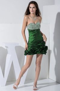 Beaded College Graduation Dresses with Hand Flowers in Green in Victoria