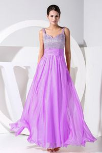Ankle-length Graduation Ceremony Dresses in Purple with Beading in Midland