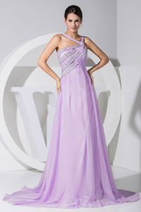 Beaded Lilac Chiffon Prom Dress For Graduation with Brush Train in Irving
