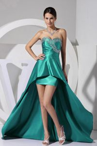 Beaded Sweetheart High-low Senior Graduation Dress in Turquoise in Eugene