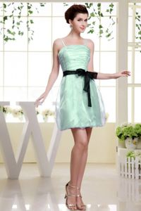 Ruched Apple Green Grad Dress with Spaghetti Straps and Black Sash