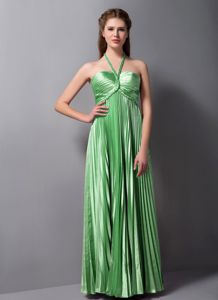 Halter Pleated 5th Grade Graduation Dresses in Spring Green in Edmond