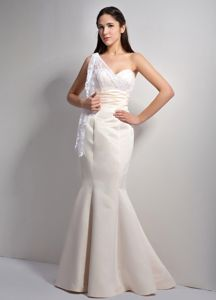 One Shoulder White Mermaid Graduation Dresses for High School in Bucksburn