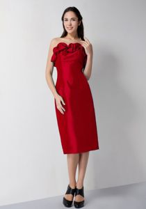 Red Column Strapless Tea-length Graduation Dresses for Grade 8 in Braemar