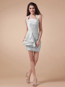 Halter and Ruched Bodice and University Graduation Dress in Thornton with Gray