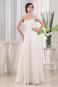 Pretty One Shoulder White Beading Senior Graduation Dress in Newport-on-Tay