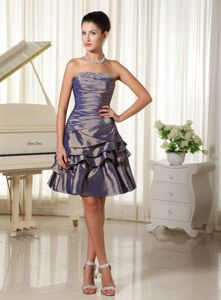 Dark Purple Strapless Junior Graduation Dresses in Kinglassie with Bust Beading