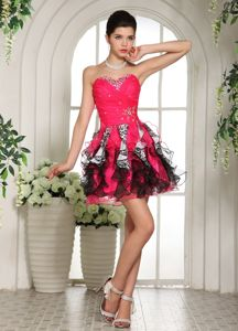 Sweetheart Hot Pink and Black Graduation Dresses for High School in Glenrothes