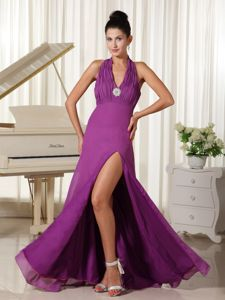 Halter Ruched Bodice Graduation Dresses for College in Dalgety Bay in Purple