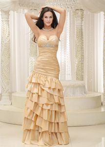 Sweetheart Ruffled Layers and Bodice Style Prom Dress for Graduation in Ceres
