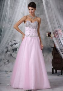 Baby Pink Sweetheart Tulle and Satin University Graduation Dress in Cardenden
