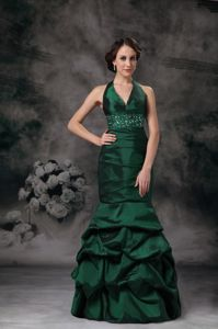 Mermaid Halter Beading Senior Graduation Dress in Thornhill in Dark Green