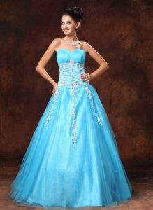 Sweetheart Appliques Baby Blue Graduation Dresses for Middle School in Stranraer