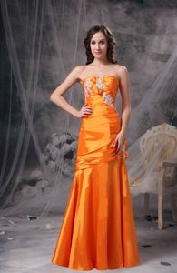 Orange Sweetheart Graduation Dresses for Girls in Ross with Appliques and Ruche
