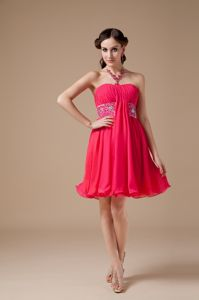 Empire Strapless Chiffon 5th Grade Graduation Dresses in Newton Stewart in Red