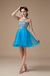 Teal Strapless Organza Beading Accent Low price Graduation Dresses in Moffat