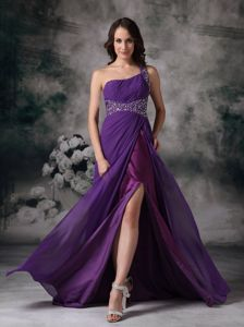 One Shoulder Beading Purple Empire Middle School Graduation Dresses in Lockerbie
