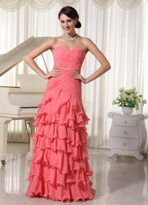 Watermelon Red Sweetheart Junior Graduation Dresses in Langholm with Beading