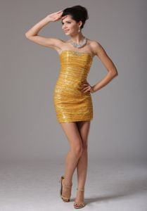 Gold Paillette Over Skirt University Graduation Dress in Annan with Beading
