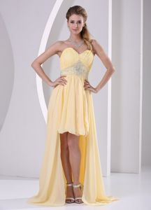 High-low Sweetheart Beaded Style Graduation Dress in Killearn in Light Yellow