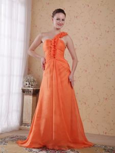 One Shoulder Empire Sweep Train Cheap Graduation Dresses in Larbert in Orange