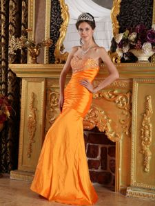 Orange Taffeta Sweetheart Beading Style College Graduation Dress in Tillicoultry