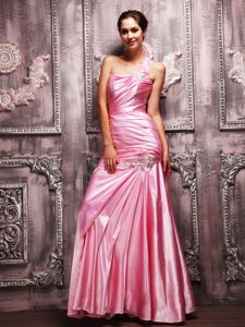 Rose Pink One Shoulder Beads and Ruche Graduation Dresses for High School in Alva
