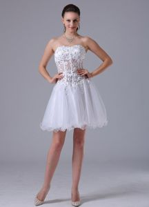 White Straps Appliques Decorate Bust Graduation Dresses for Grade 8 in Tillicoultry