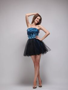 Strapless Rhinestone Navy Blue and Black Graduation Dresses for Juniors in Stirling