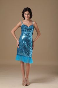 Teal Straps Sequin Beading Style Graduation Dresses for College in Lochearnhead