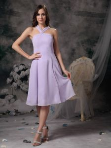 Simple Lilac Empire V-neck Graduation Ceremony Dresses in Falkirk with Chiffon