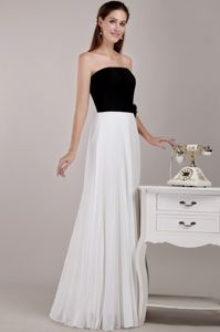 Black and White Strapless Chiffon Ruffles College Graduation Dresses in Dunblane