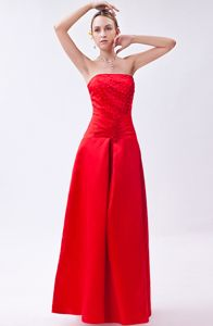 Column Strapless Taffeta Red Beading Style Graduation Dress in Crianlarich