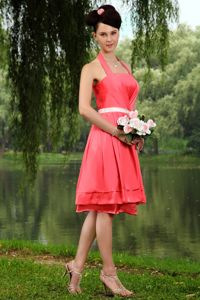Empire Elastic Woven Satin Cute Coral Red Graduation Dresses in West Linton