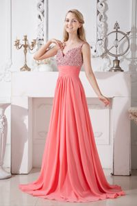 Spaghetti Straps Watermelon Red Brush Train Cheap Graduation Dresses in Peebles