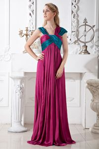Fuchsia Straps Ruche Middle School Graduation Dresses in Melrose with Brush Train