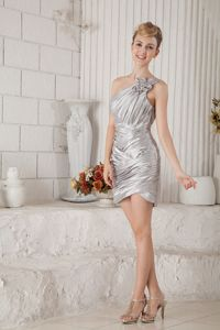 Silver One Shoulder Column Chiffon Ruche College Graduation Dress in Jedburgh
