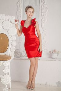 Red Halter Column Ruche Style Graduation Dresses for High School in Innerleithen