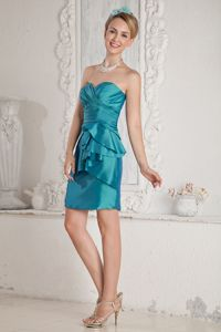 Column Style Sweetheart Sash Eighth Grade Graduation Dresses in Hawick in Teal